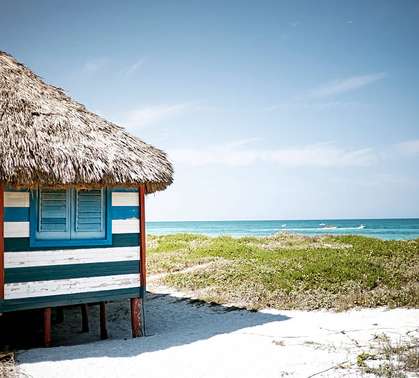 Thatched roof beach house with shutters on the beach stock photo
