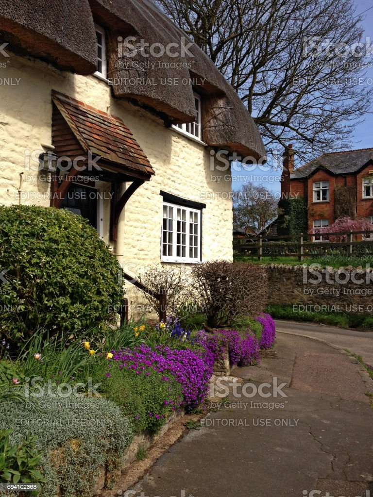 Thatched roof cottages - Long Crendon, Buckinghamshire stock photo