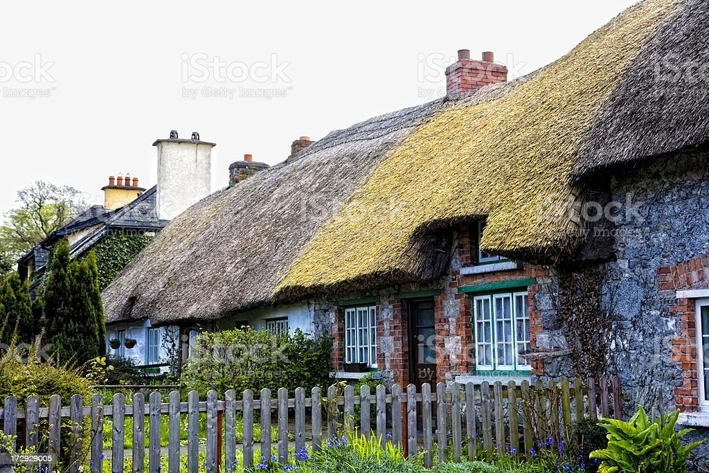 Thatched Roof Cottages stock photo