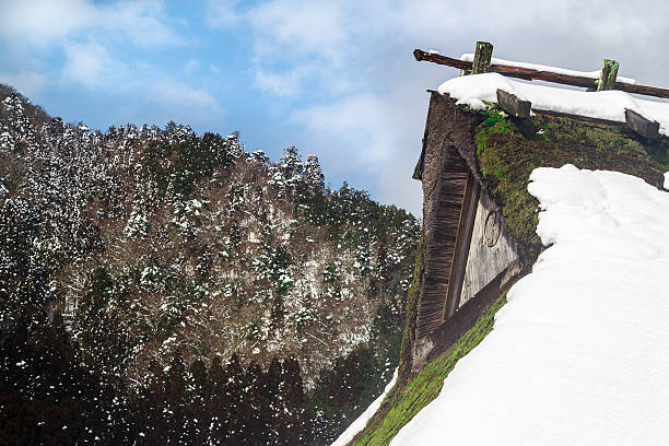 thatched roof covered in snow - satoyama scenery stock photos and pictures