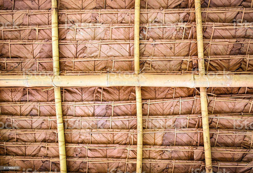 Thatched roof from hill tribes house stock photo