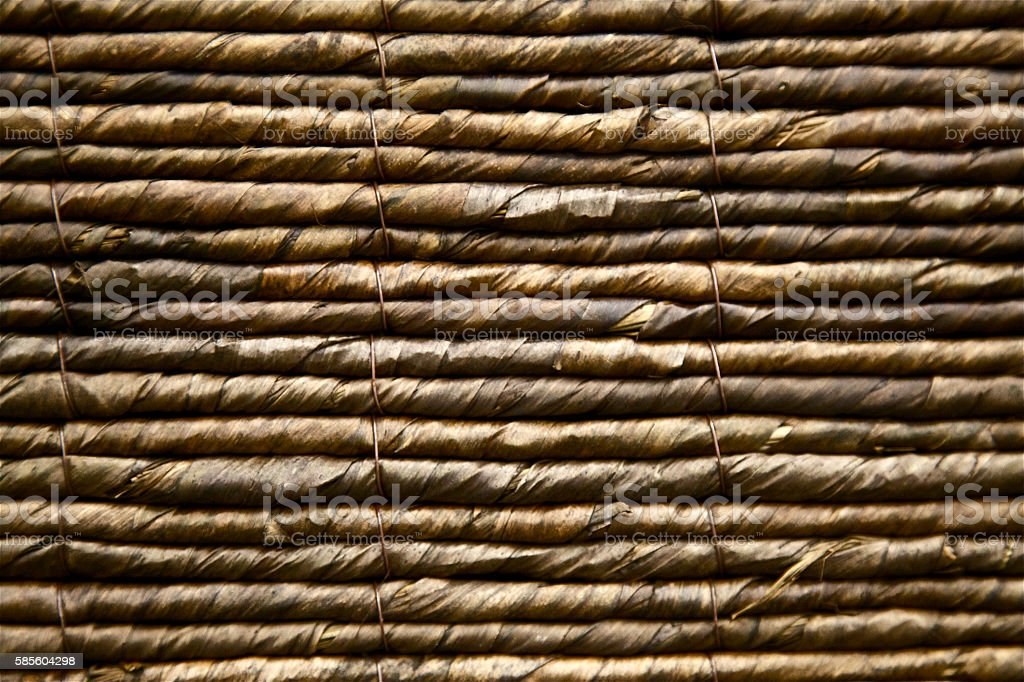 thatched roof texture palm leaf construction ceiling pattern wicker backdrop stock photo