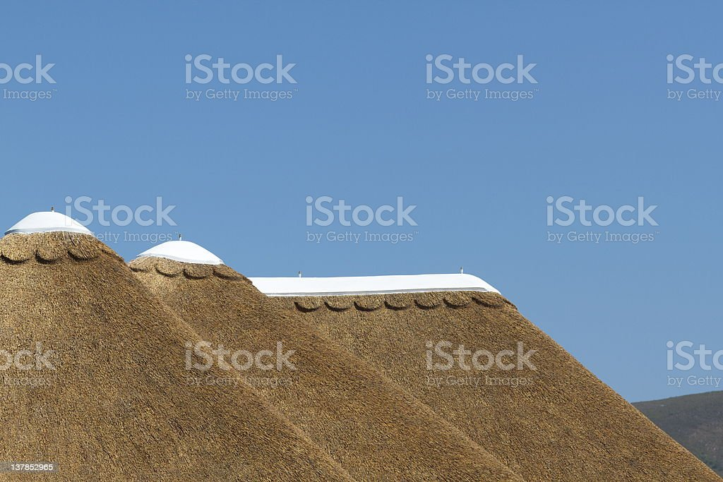 Thatched Roof with White Concrete Tops royalty-free stock photo