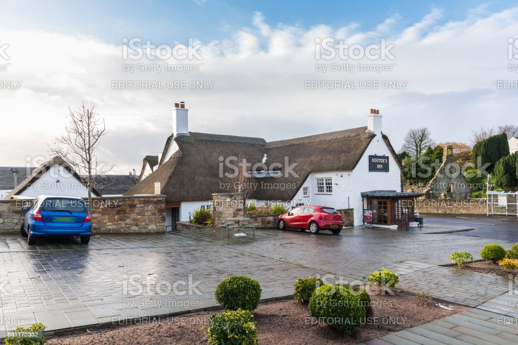 Thatched Roofs of Souter's Inn Kirkoswald Scotland stock photo