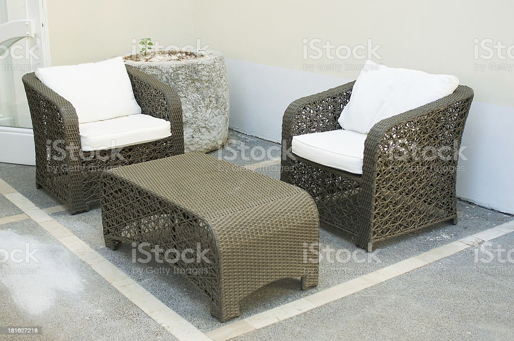 thatched straw furniture stock photo