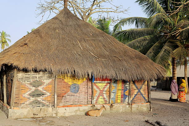 Thatch-roofed palm-matting walled house. Carabane island-Senegal. 2241 – Foto