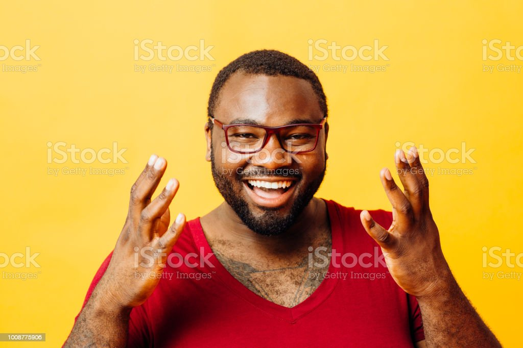 That's great! / Portrait of a very happy man with big smile and hands up stock photo
