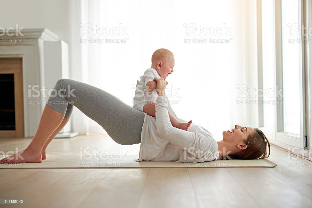That's how she got her pre-baby body back stock photo