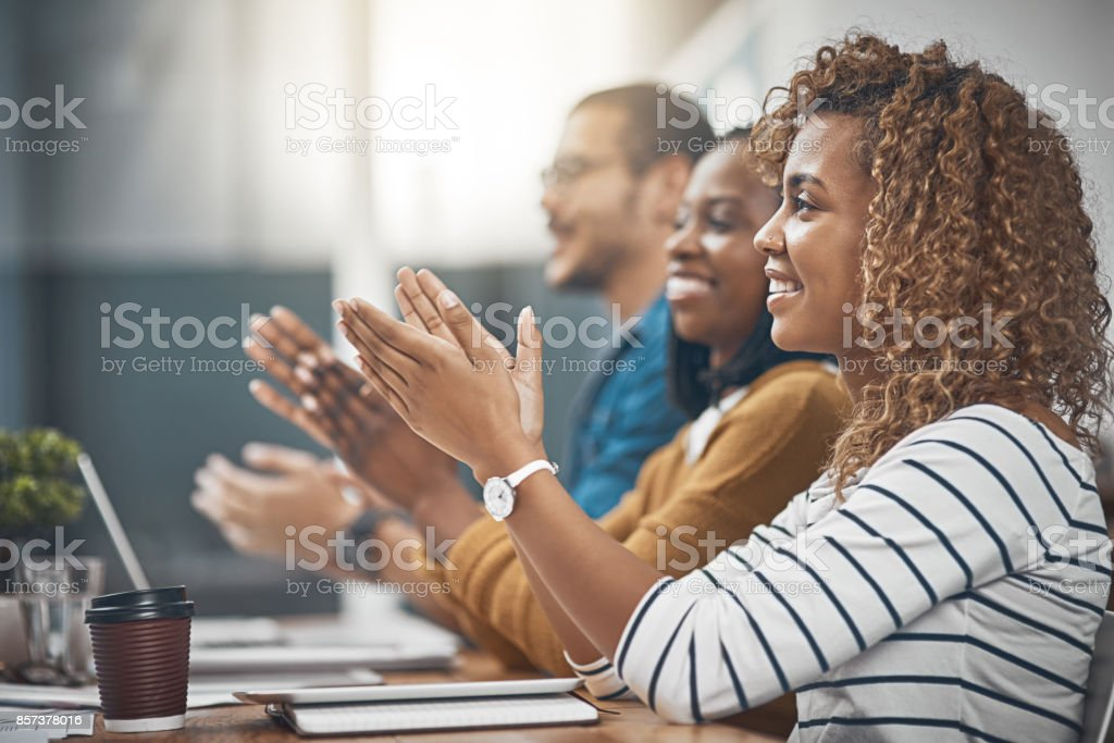 That's what you call a good meeting! stock photo