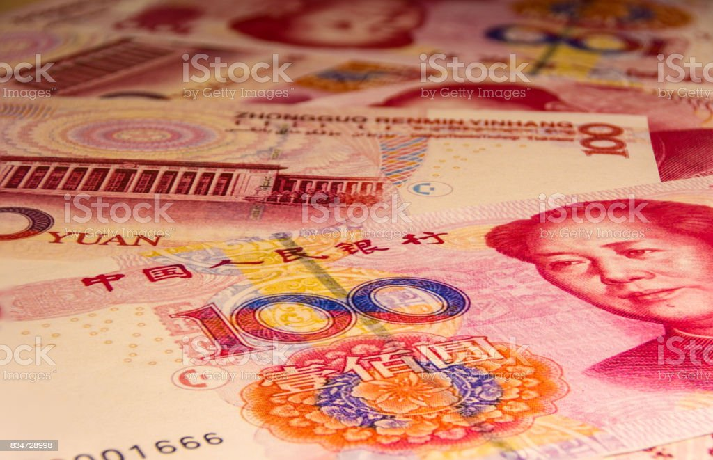 The 100 yuan or renminbi banknote, Chinese Currencies stock photo