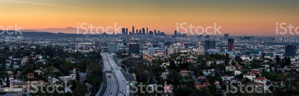 The 101 Through Hollywood with DTLA Skyline - Aerial Panorama stock photo
