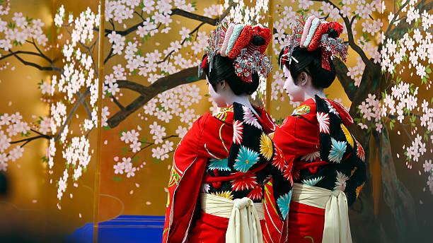 The 14th Ichiyo Sakura Festival Tokyo, Japan - April 9, 2016: The Edo Yoshiwara Oiran-dochu Procession during the 14th Ichiyo Sakura Festival in Asakusa Kannon-Ura. geisha stock pictures, royalty-free photos & images
