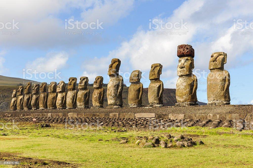 The 15 moai statues in Ahu Tongariki, Easter Island, Chile stock photo