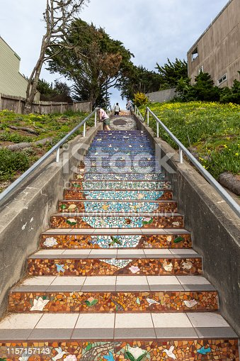 San Francisco, California, USA - March 30, 2018: The 16th Avenue Tiled Steps view from bottom, the project has 163 steps in a Sea to Sky theme.