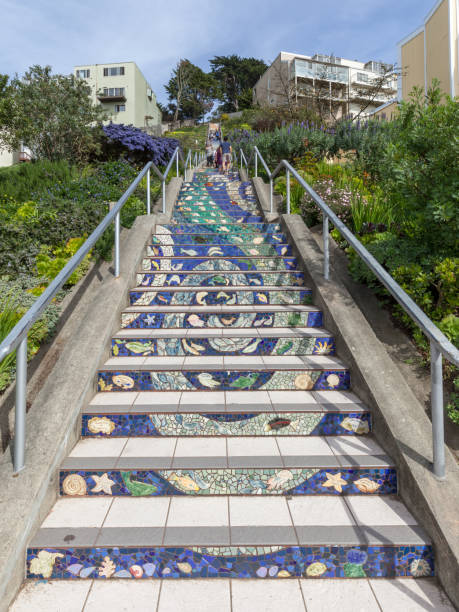 The 16th Avenue Tiled Steps view from bottom stock photo