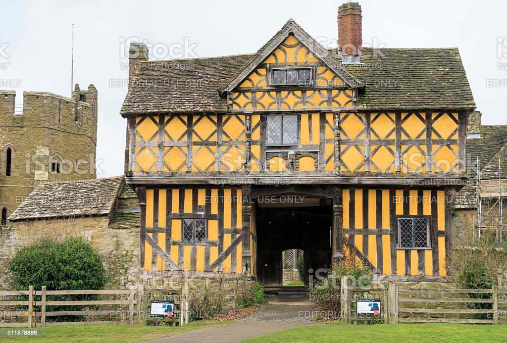 The 17th Century timber framed gatehouse to Stokesay Castle. stock photo