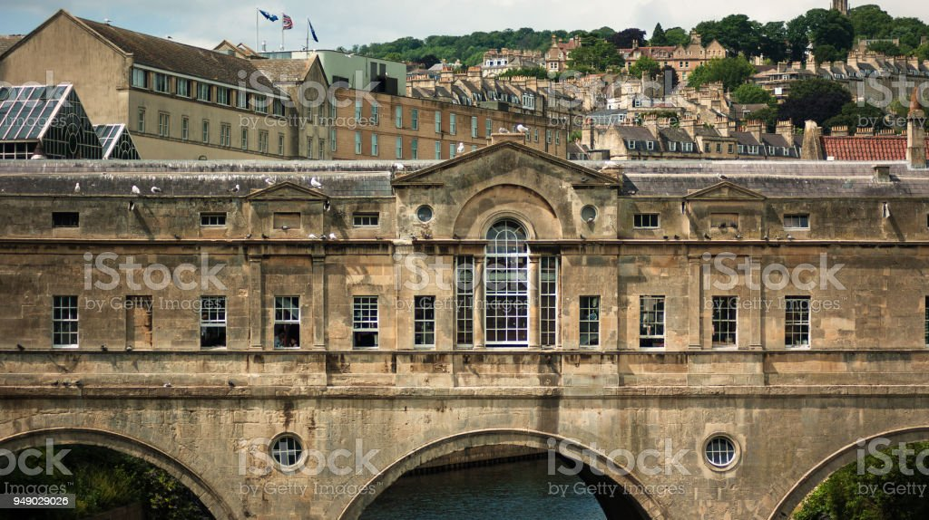 The 18th century Pulteney Bridge  in Bath, Somerset England United Kingdom UK stock photo