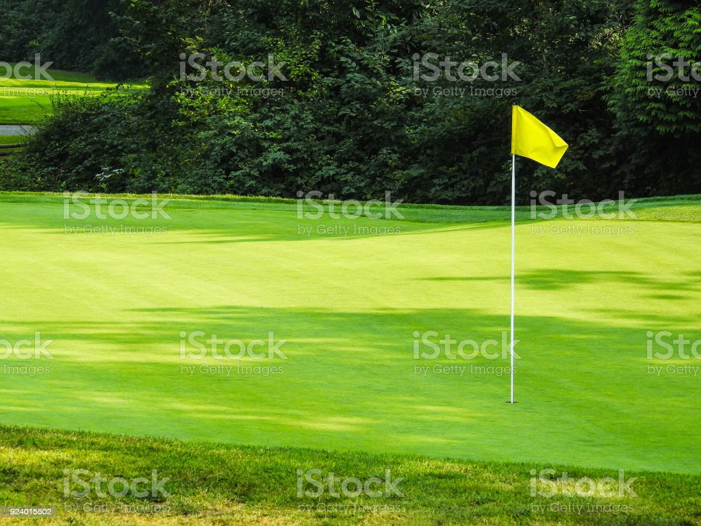 A yellow flag on a pole in a golf course hole on the green.