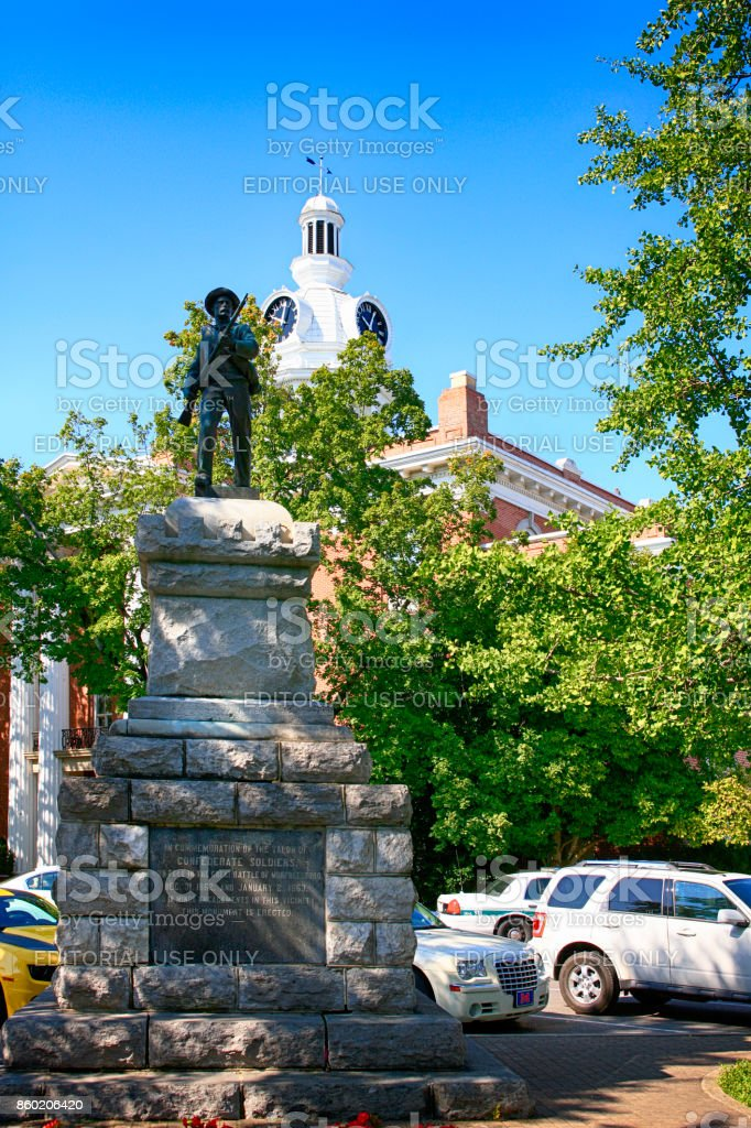 The 1901 Confederate Soldier's Monument in the Public Square in Murfreesboro TN, USA stock photo