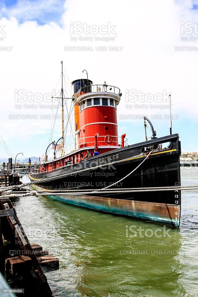 The 1907 tugboat Hercules in San Francisco CA stock photo