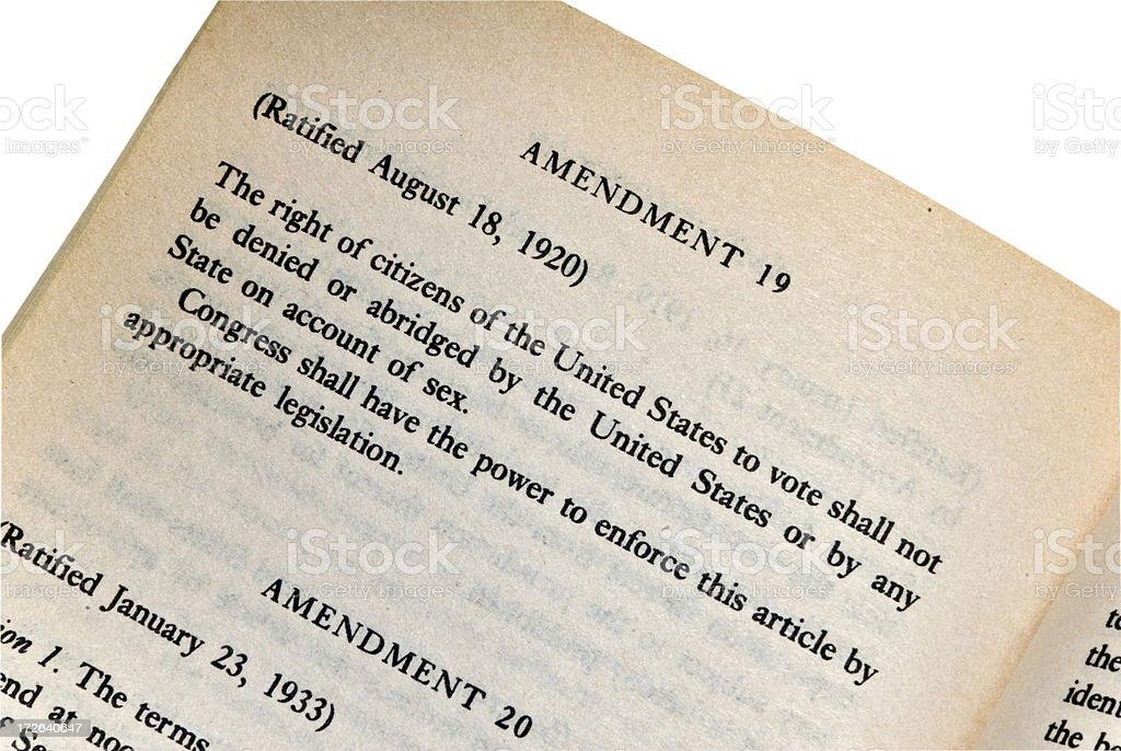 The 19th Amendment - Constitution Series stock photo