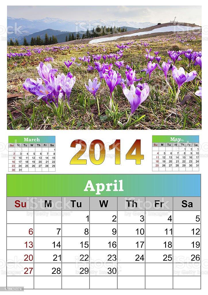 The 2014 Calendar. April. royalty-free stock photo