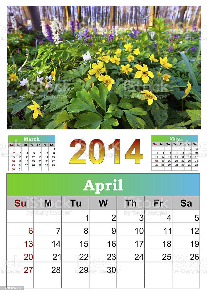 The 2014 Calendar. April. royalty-free stock photo