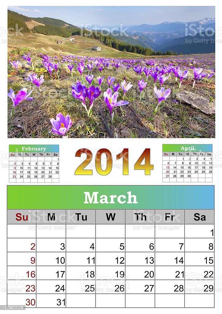 The 2014 Calendar. March. royalty-free stock photo