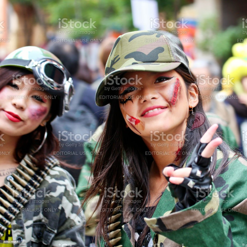 The 20th Anniversary of Kawasaki Halloween - Girls in Combat Uniform stock photo