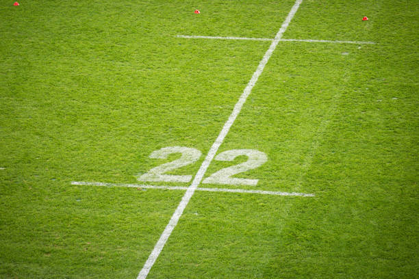 The 22 meter line outside in a game of rugby painted onto green grass stock photo