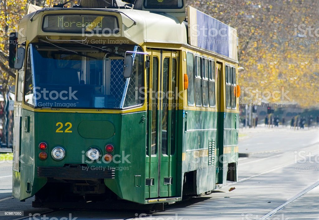 The 22 Moreland green tram in Melbourne stock photo