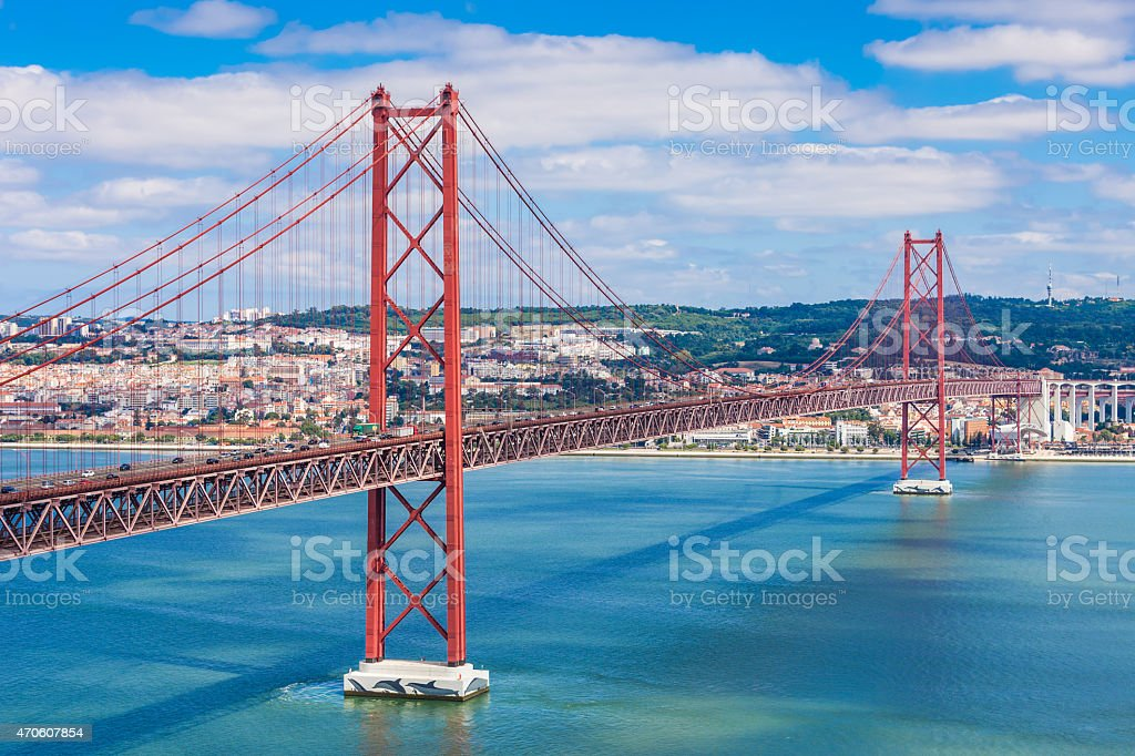 The 25 de abril bridge in Portugal stock photo