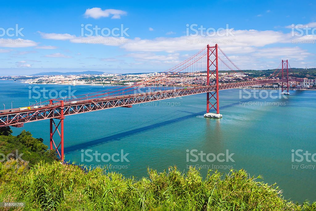 The 25 de Abril Bridge stock photo