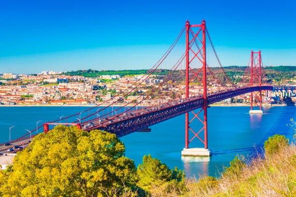 The 25th April Bridge (Ponte 25 de Abril) in Lisbon, Portugal. View from Almada stock photo