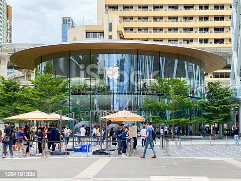 Bangkok Thailand - 3 August 2020: Apple Store at Central World in Bangkok. This Apple store is the 2nd Apple Flagship store in Thailand