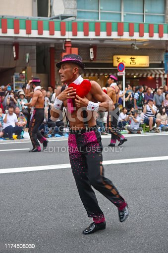 Tokyo, Japan - August 31, 2019: Participant dancers perform on the street during the 38th Asakusa Samba Carnival.