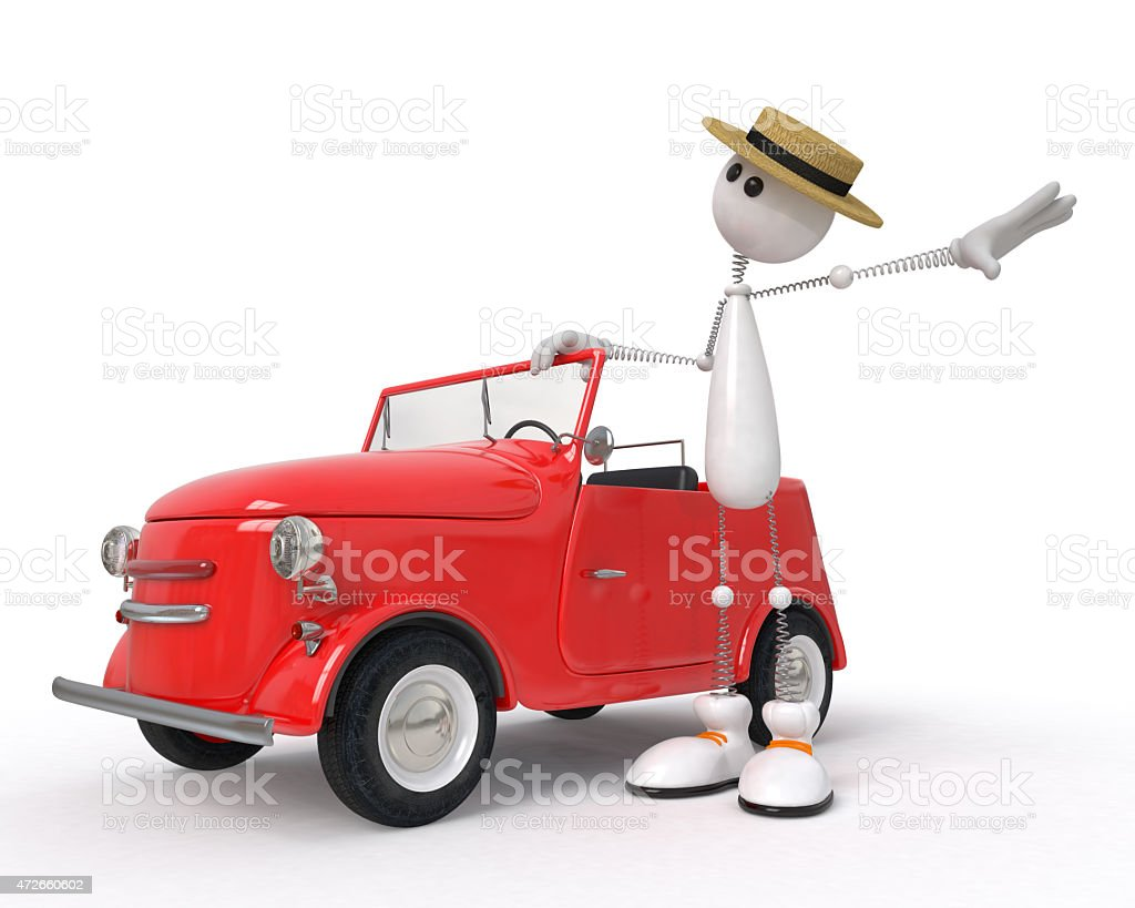 The 3D character with car stock photo