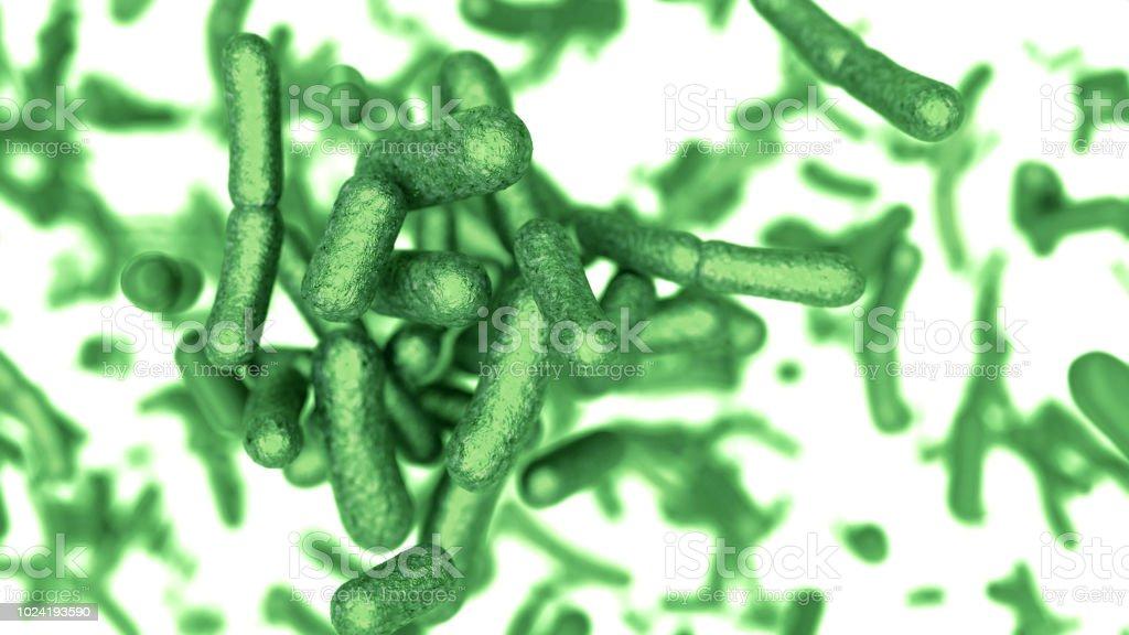 De 3D-kolonie bacteriën in omgeving foto