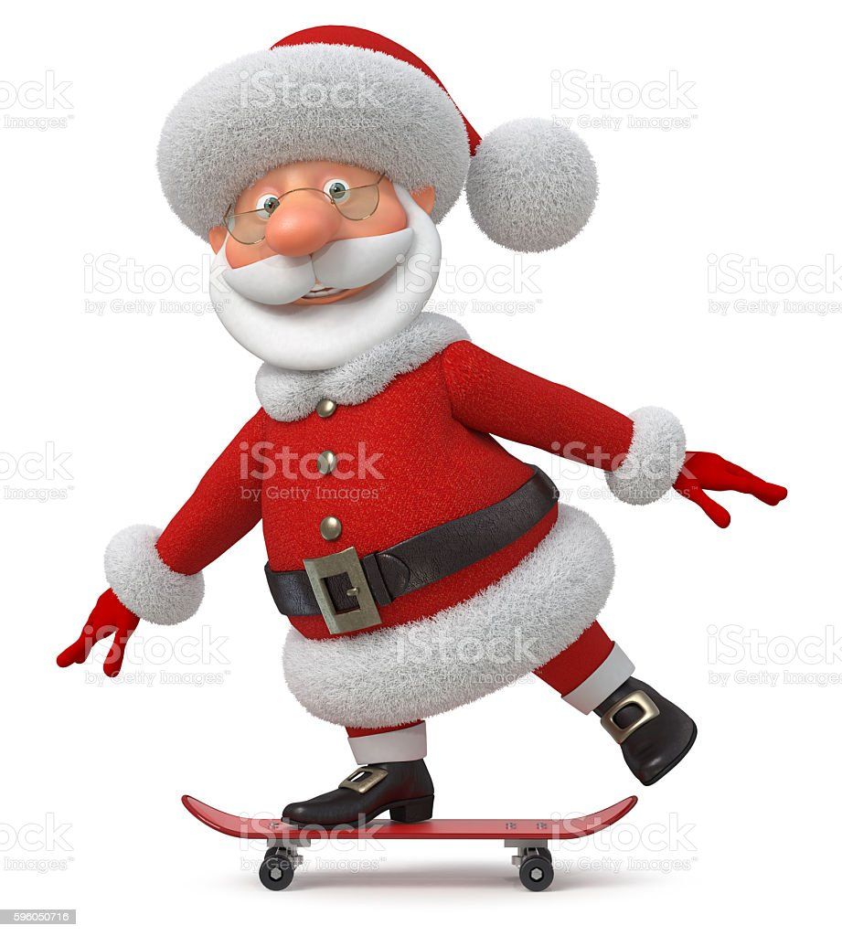 The 3D illustration Santa Claus goes on a skateboard royalty-free stock photo