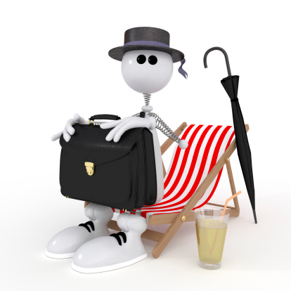 istock The 3D little businessman on a beach. 181496956