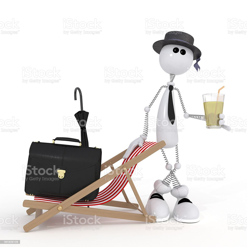 The 3D little businessman on a beach. royalty-free stock photo