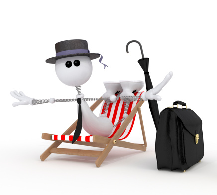 istock The 3D little businessman on a beach. 185424496