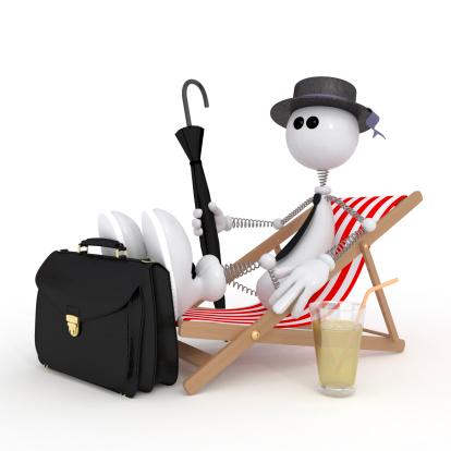 istock The 3D little man on a beach. 181605901