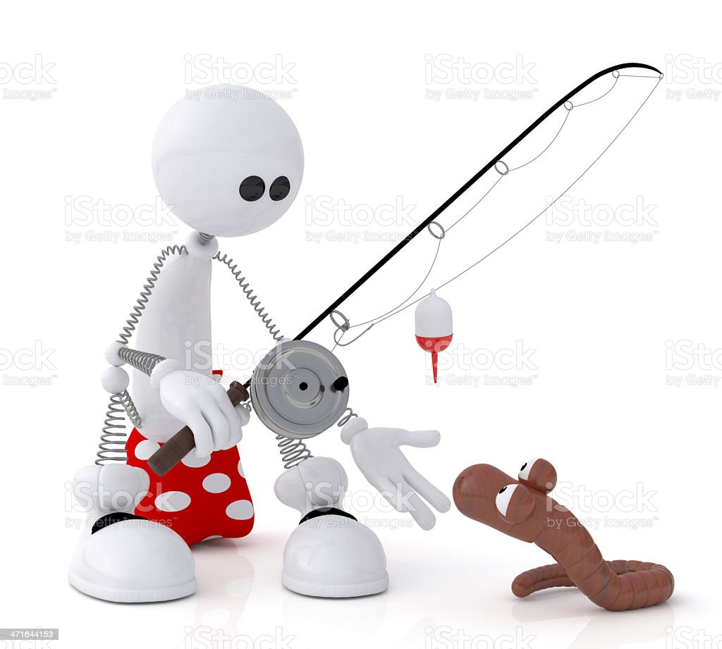 The 3D little man on fishing. royalty-free stock photo