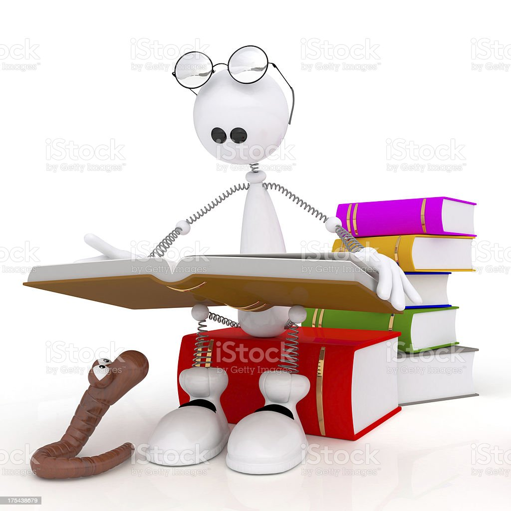 The 3d little man reads at books. stock photo