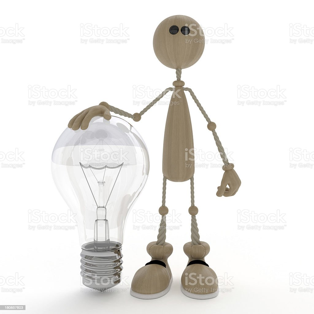 The 3D little man with a bulb. royalty-free stock photo