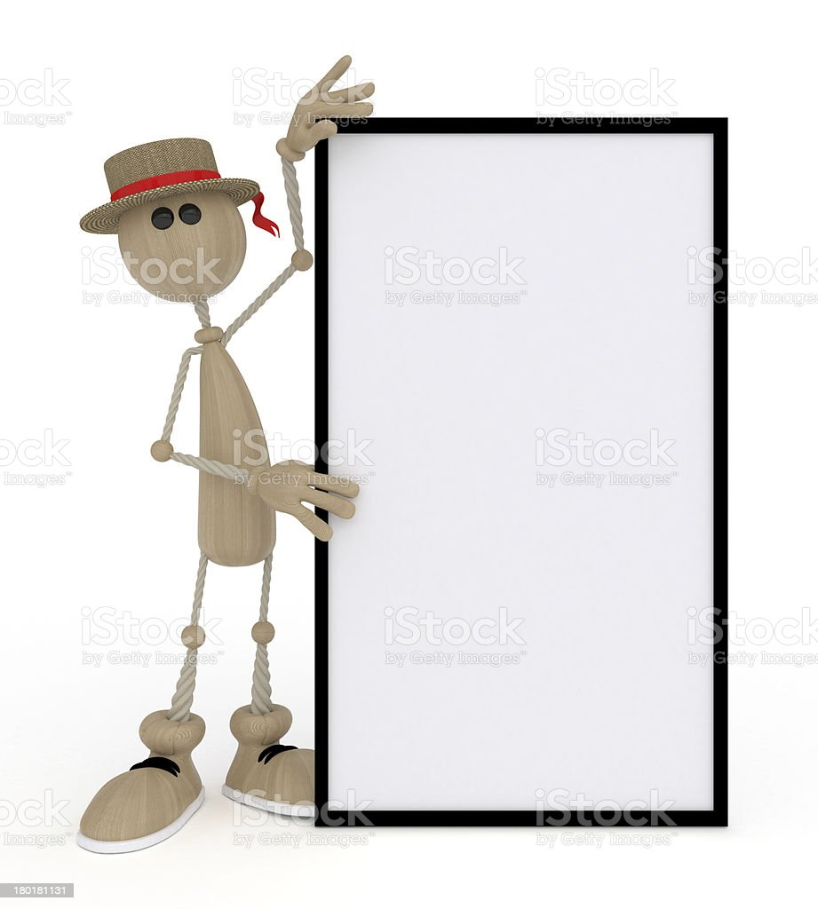 The 3D little man with a sign. royalty-free stock photo