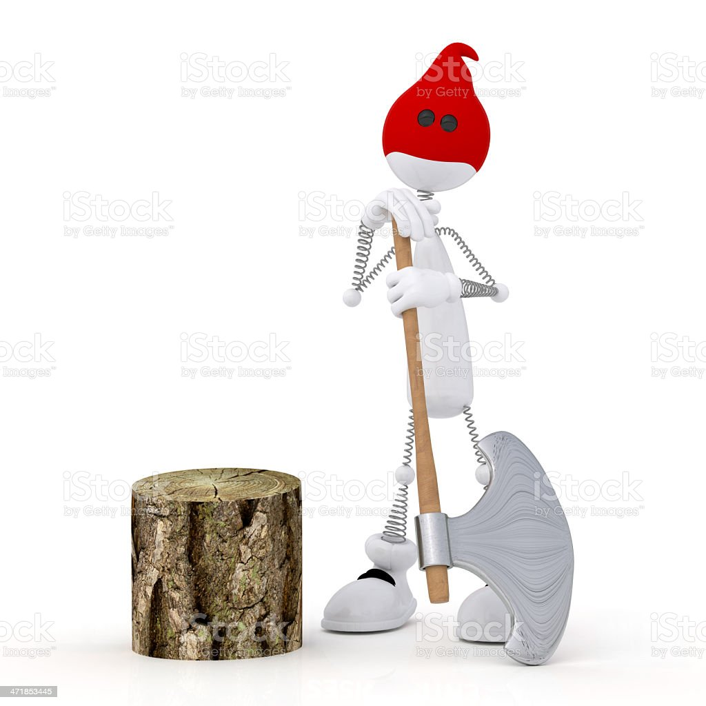 The 3D little man with an axe. royalty-free stock photo