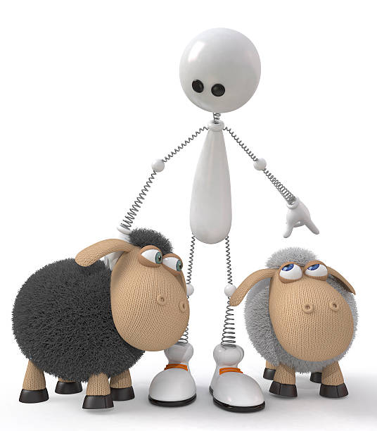 The 3D little man with sheeps stock photo