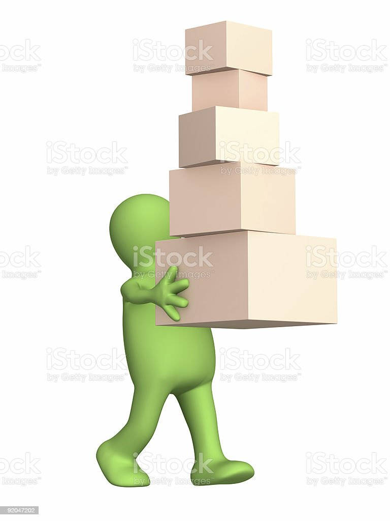 The 3d person a puppet, carrying boxes royalty-free stock photo